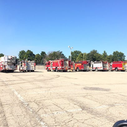 Second alarm response equipment in staging waits for