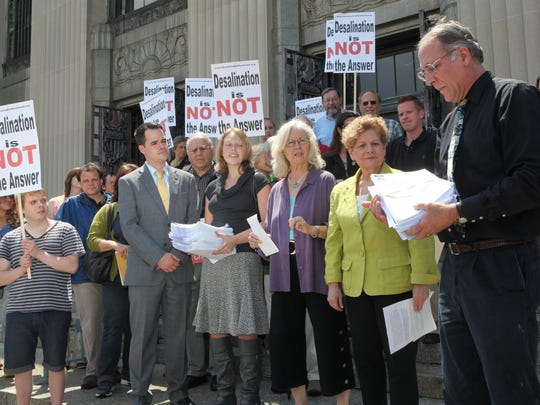 Rockland Water Coalition members, seen in 2012 on the steps of the Rockland County Courthouse, worked to undo a PSC decision to have Suez build a desalination plant.