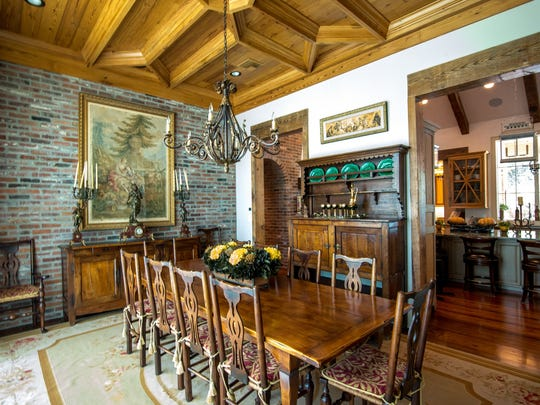 The dining room is old world charm and luxury combined.