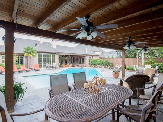 The backyard is perfect for relaxing and entertaining.