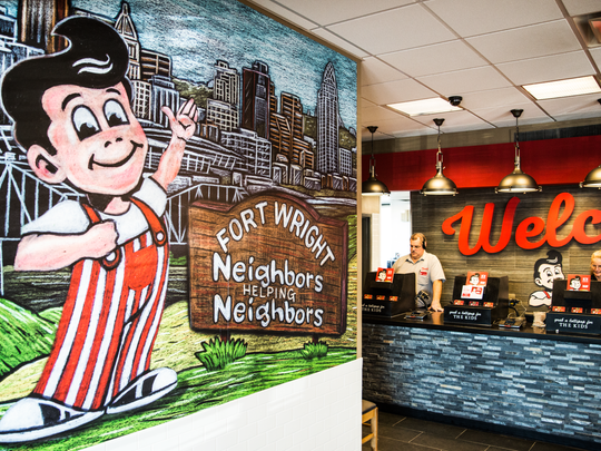 A new inside wall mural greets customers inside Fort Wright Frisch's after a remodel was finished Oct. 18.