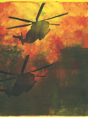 """""""Flight of the Bumble Bee"""" by Shawn Ganther. Monotype: 8""""X10"""" on paper"""