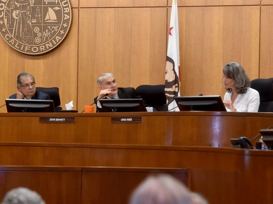 From left, Ventura County Supervisors John Zaragoza, Steve Bennett and Linda Parks participate in a debate about a new water agency in the county during their meeting on Tuesday. Bennett and Parks have been on different sides of many issues in recent months.
