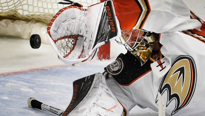 Ducks goalie Frederik Andersen (31) allows the second goal to pass by Predators left wing James Neal (18)  during the second period in game six of the Stanley Cup Playoff at Bridgestone Arena Monday April 25, 2016, in Nashville, Tenn.