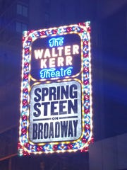 "The ""Springsteen on Broadway"" marquee at the Walter Kerr Theatre."