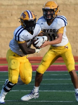 Byrd's Jalin Thomas takes a handoff in a past game.