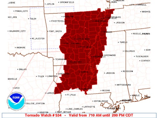 A tornado watch is in effect until 2 p.m. today for West Mississippi, Northeast Louisiana and Southeast Arkansas.
