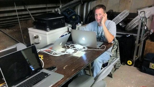 The ever glamorous photo workroom under the stadium in Clemson. Thanks to Mike Olivella for this photo