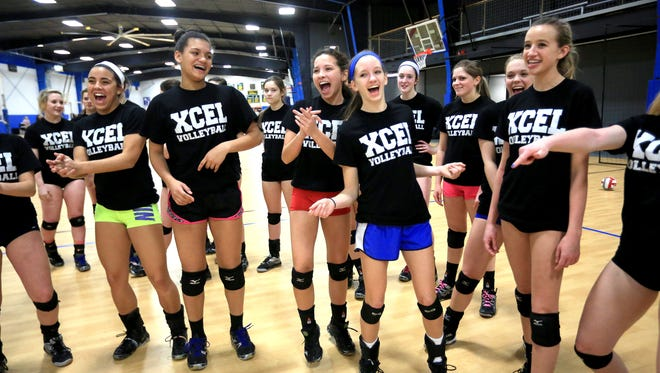 Members of the Xcel Volleyball Performance 17X Select and 18X Select teams.