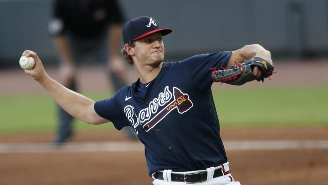 Atlanta Braves starting pitcher Mike Soroka works during an intrasquad baseball game July 13 in Atlanta. Soroka is scheduled to be the Braves' starter on opening day July 24 against the Mets in New York.