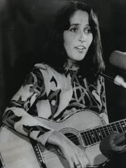 Folksinger Joan Baez is shown during her free concert