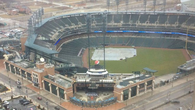 The view from the 31st floor of Broderick Tower, overlooking Comerica Park.