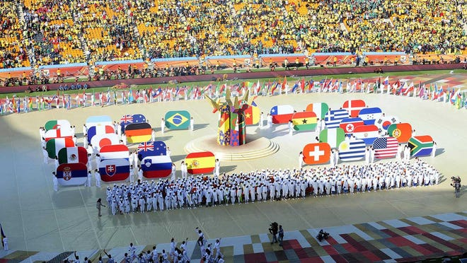 A general view as dancers perform during the opening ceremonies for the 2010 World Cup at Soccer City Stadium on June 11, 2010, in Johannesburg, South Africa.