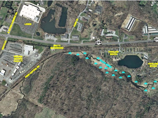 This image provided by HVEA Engineers shows Route 299, alongside which will be a 1.24 mile extension to the Hudson Valley Rail Trail in Highland