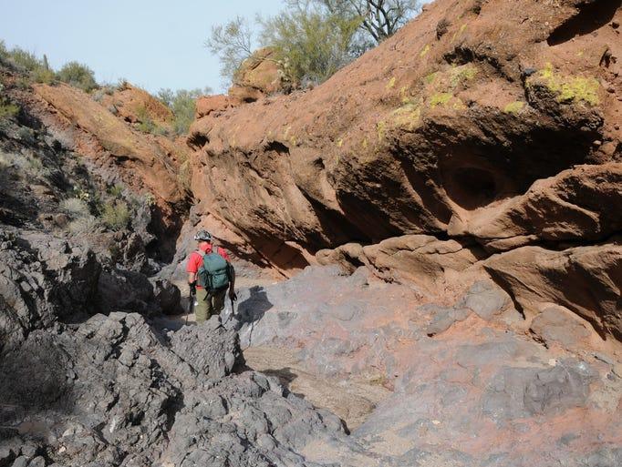 A slot canyon in Dinosaur Wash near Wickenburg.