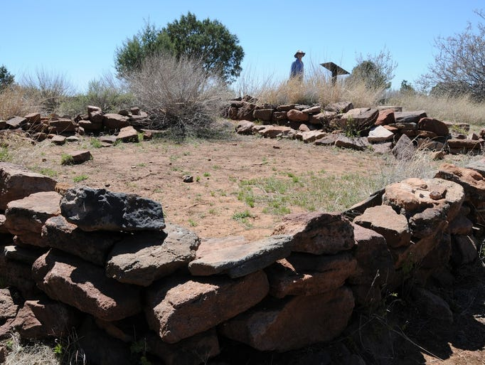 An excavated room at Shoofly Village, a Native American
