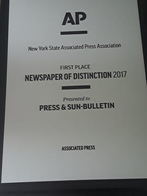 The Press & Sun-Bulletin won the 21017 Newspaper of Distinction award in the annual New York Associated Press Association competition on June 2, 2018.