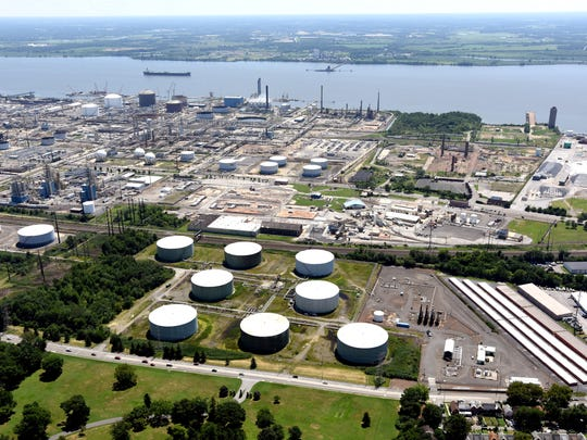 The Sun Refinery north of Wilmington is shown. State