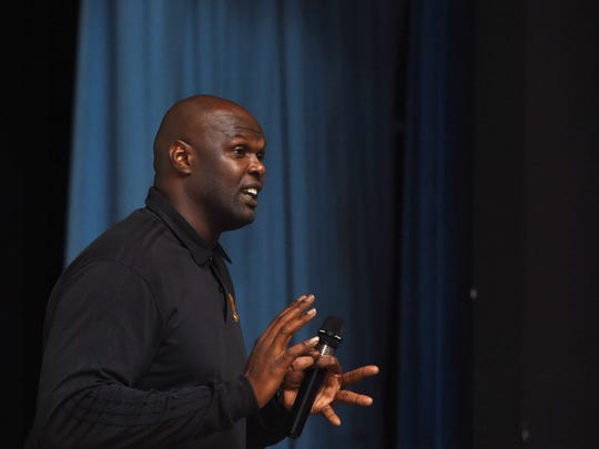 Former NBA player and athlete advocate Adonal Foyle speaks at Poughkeepsie High School on Wednesday.
