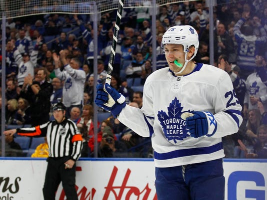 Toronto Maple Leafs forward James Van Riemsdyk (25) celebrates his goal during the first period of an NHL hockey game against the Buffalo Sabres, Thursday, March 15, 2018, in Buffalo, N.Y. (AP Photo/Jeffrey T. Barnes)