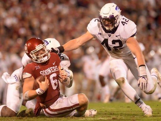 Oklahoma Sooners quarterback Baker Mayfield (6) is