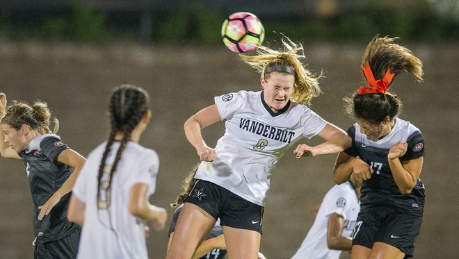 Vanderbilt freshman forward Hannon Eberts, a Somers native, is pictured here during a game against Southeast Missouri State on Aug. 9th, 2016.