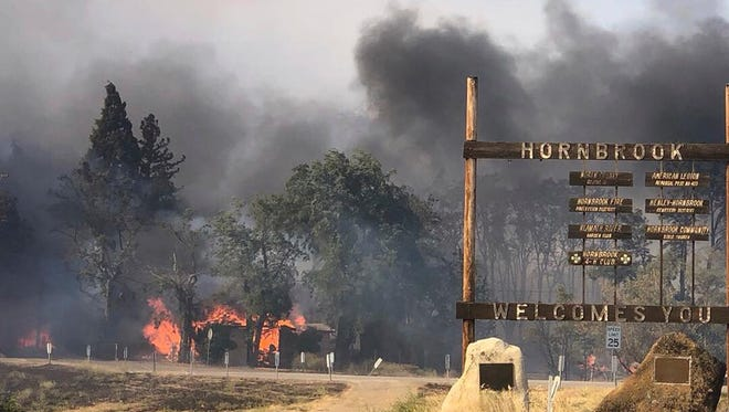 More than 30,000 acres have burned near the California-Oregon border since the Klamathon Fire broke out Thursday. (California Highway Patrol via AP)