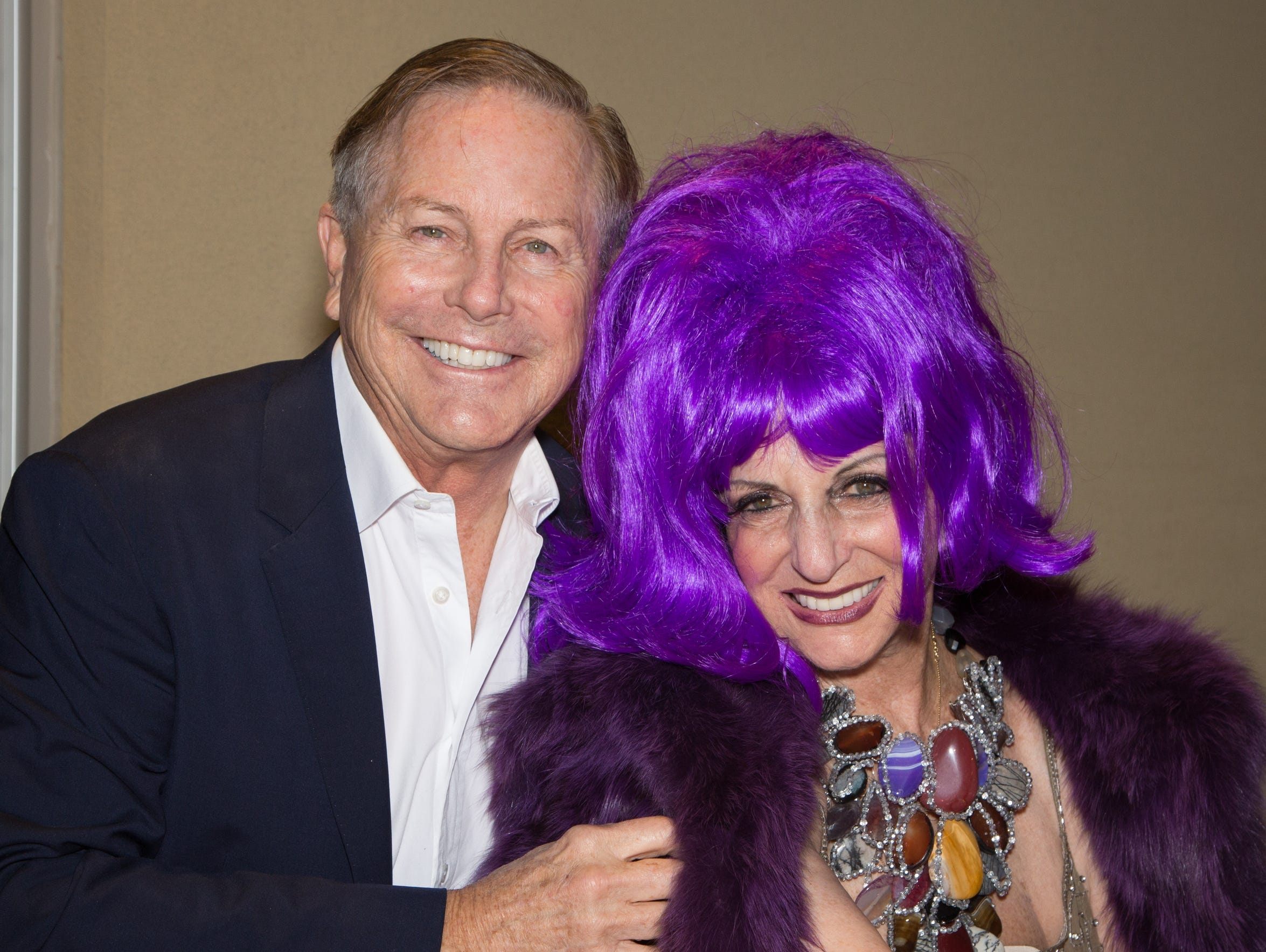 "Jamie Kabler with Helene Galen, showing an Andy Warhol affinity for unnaturally-colored wigs at a ""Meet the Galen"" Palm Springs Art Museum event in 2016."