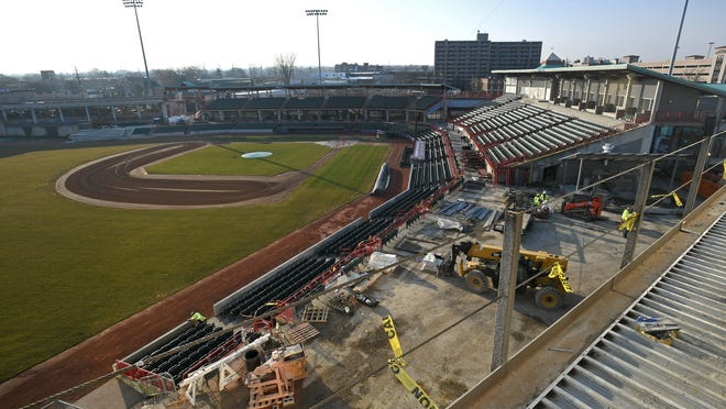 Construction continued March 18, 2020, at UPMC Park in Erie. Ballpark renovations are being funded by a $12 million state grant.