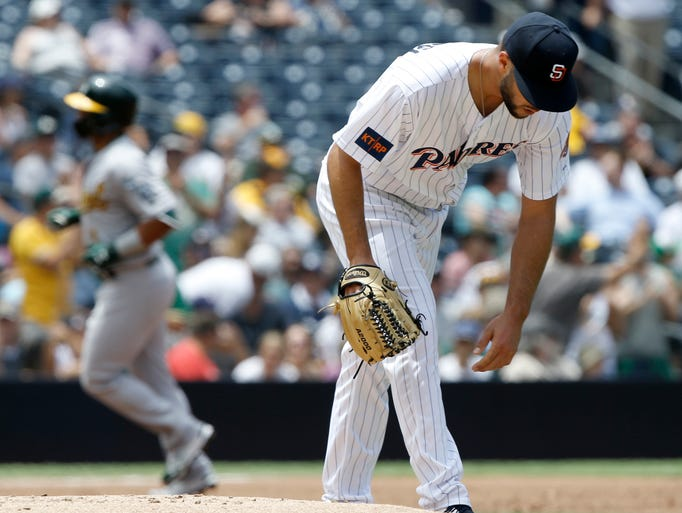 San Diego Padres starting pitcher Joey Lucchesi sometimes