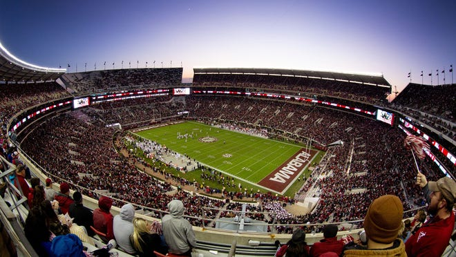 Nov 10, 2018; Tuscaloosa, AL, USA; A general view of  Bryant-Denny Stadium during the game against Mississippi State Bulldogs. Mandatory Credit: Marvin Gentry-USA TODAY Sports ORG XMIT: USATSI-382631 ORIG FILE ID:  20181110_jdm_sg8_044.jpg