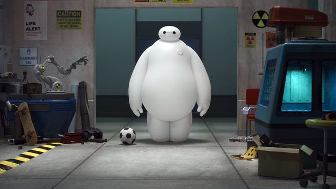 """FOR USE WITH THE 10/31/14 HOLIDAY MOVIE PREVIEW  Baymax in a scene from the animated motion picture """"Big Hero 6."""" CREDIT: Disney [Via MerlinFTP Drop]"""