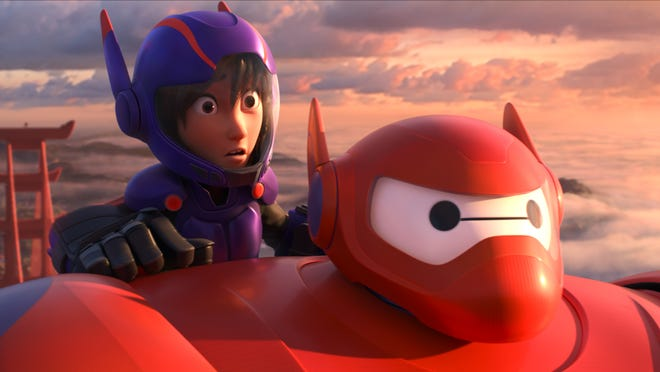 "Hiro and the robot Baymax in a scene from ""Big Hero 6"""