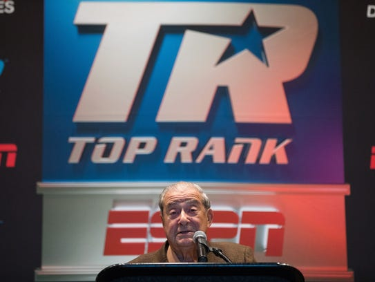 Boxing promoter Bob Arum announces a fight card for