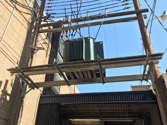A look at brand new transformer at the Abilene Reporter-News site Sunday morning. Crews worked through the night to remove one that blew before 8 p.m. Saturday and replace it. The process shut down the newspaper for hours and forced printing to be done in Wichita Falls.