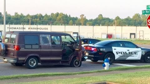 Police used stop sticks to immobilize a stolen van Thursday morning.