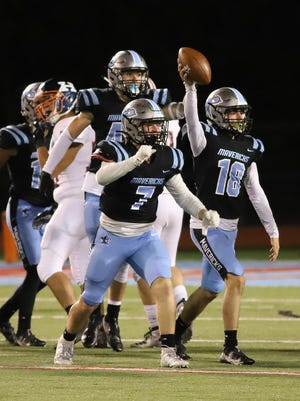 Southside's Blake Mitchell celebrates after recovering a fumble in the second quarter, Friday, Oct. 16, against Heritage at Jim Rowland Stadium.