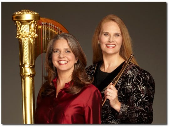 Harpist Elaine Barber and flutist Megan Meisenbach