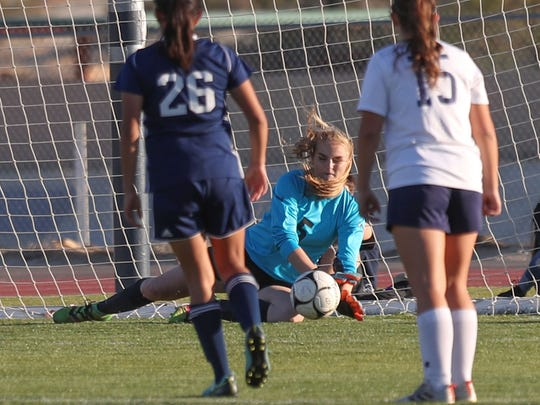 La Quinta Blackhawks goalkeeper Nicole Maler stops a penalty kick during their playoff win against California, February 20, 2018.
