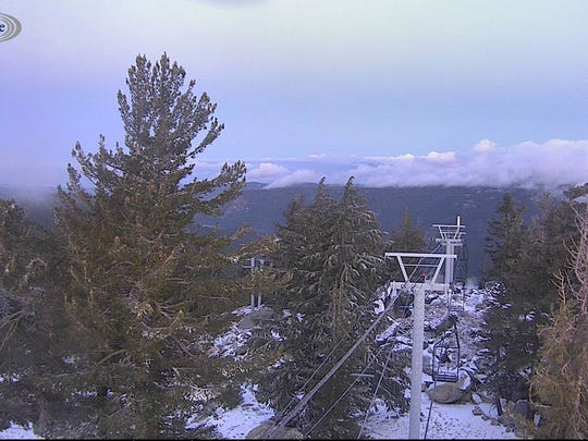 This Alert Tahoe fire camera photo shot at Sierra-at-Tahoe ski resort on Sept. 21, 2017, shows a dusting of snow.