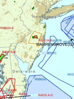 A screenshot of a map showing all the military operations areas, including those by the Navy outlined in blue, on the East Coast. The Navy has acknowledged its fighter jets were the source of sonic booms felt Thursday afternoon from southern New Jersey to Long Island.