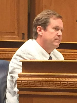 Rep. Thomas Carmody, R-Shreveport, looks dejected as his bill to merge all existing higher education governing boards into a new single, reorganized and powerful Board of Regents failed Wednesday in the House Education Committee.