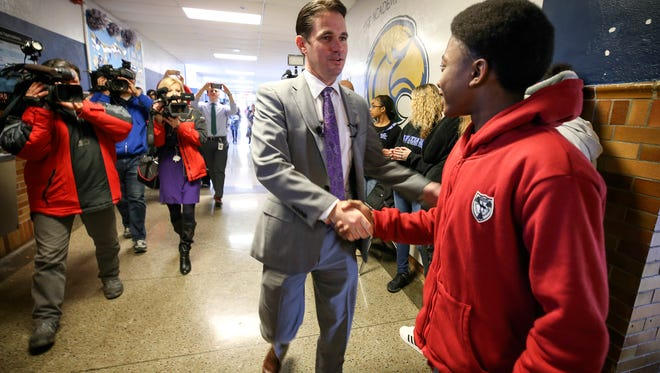 JCPS superintendent Marty Pollio is welcomed by students at The Academy @ Shawnee.