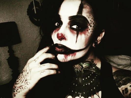 Nikki Sinn as a clown