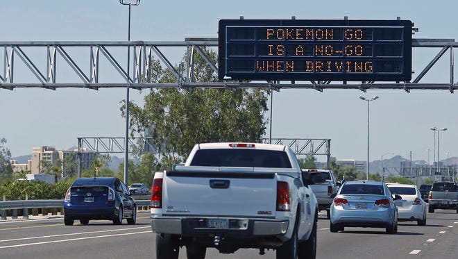 An Arizona Department of Transportation sign on westbound Interstate 10 in Phoenix is pictured on Wednesday, July 13. ADOT said the message was to be posted across the state.