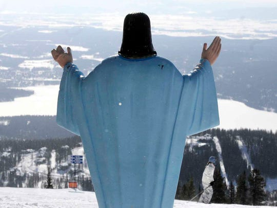 The statue of Jesus Christ at Whitefish Mountain Resort overlooks Whitefish Lake and the Flathead Valley in in 2011.