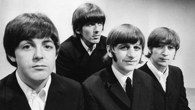 The Beatles, from left, Paul McCartney, George Harrison, Ringo Starr and John Lennon at the BBC Television Studios in London before the start of their world tour, June 17, 1966.