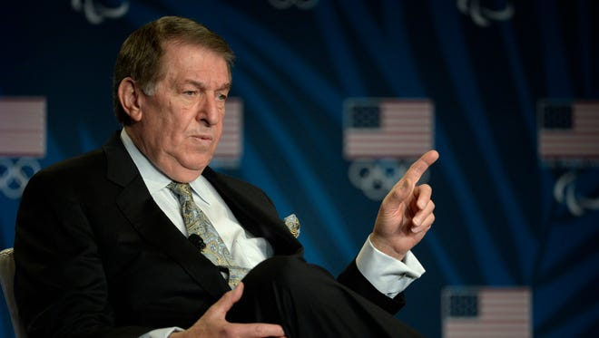 Mar 9, 2016; Los Angeles, CA, USA; Team USA general manager Jerry Colangelo during a press conference at the 2016 Team USA Media Summit at the Beverly Hilton.