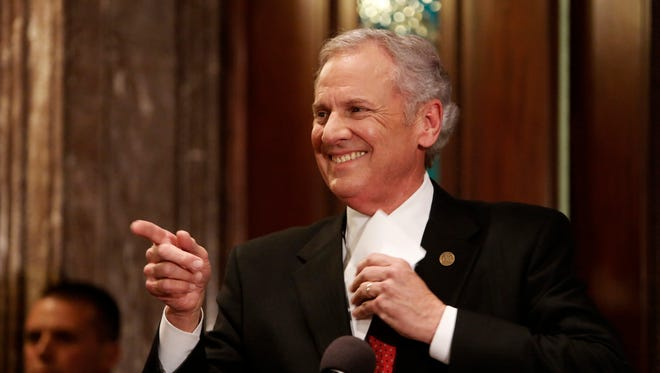 South Carolina Gov. Henry McMaster is all smiles after being sworn in by S.C. Chief Justice Don Beatty at a ceremonial swearing in at the Statehouse on Jan. 24 in Columbia. McMaster became governor after Nikki Halley was confirmed as ambassador to the United Nations.