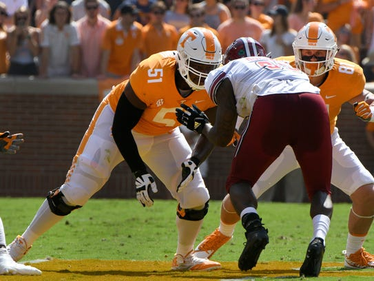 Tennessee offensive lineman Drew Richmond (51) is one of two returning starters on the line.